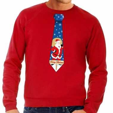 Foute kerstkersttrui stropdas met kerstman print rood voor heren