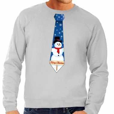 Foute kerstkersttrui stropdas met sneeuwpop print grijs voor heren