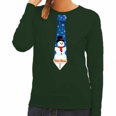 Foute kerstkersttrui stropdas met sneeuwpop print groen voor dames