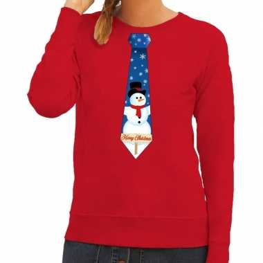Foute kerstkersttrui stropdas met sneeuwpop print rood voor dames