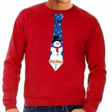 Foute kerstkersttrui stropdas met sneeuwpop print rood voor heren
