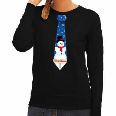 Foute kerstkersttrui stropdas met sneeuwpop print zwart voor dames
