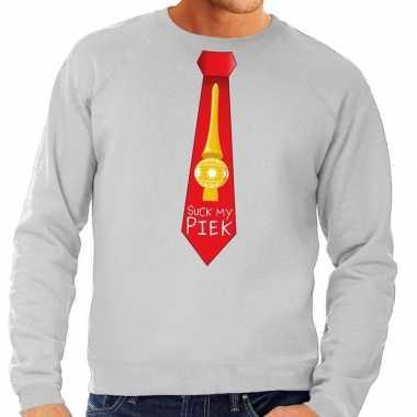 Foute kerstkersttrui stropdas suck my piek grijs voor heren