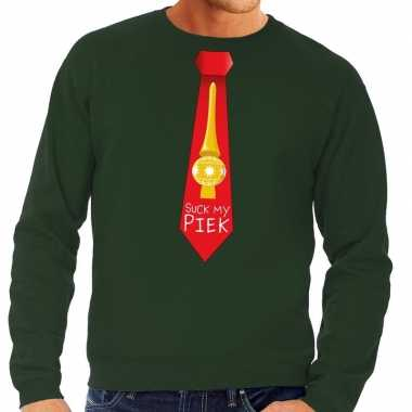 Foute kerstkersttrui stropdas suck my piek groen voor heren