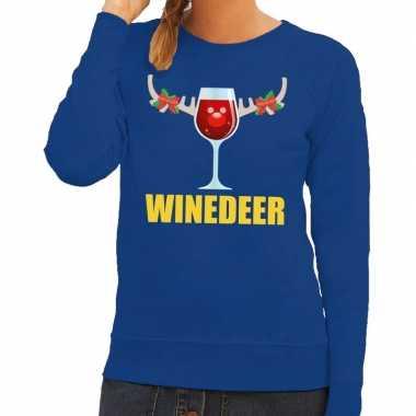 Foute kerstkersttrui winedeer blauw voor dames