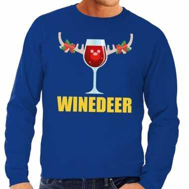 Foute kerstkersttrui winedeer blauw voor heren