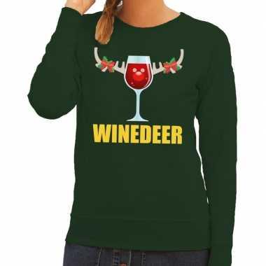Foute kerstkersttrui winedeer groen voor dames