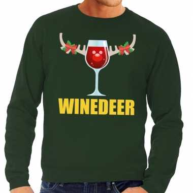 Foute kerstkersttrui winedeer groen voor heren