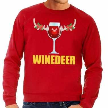 Foute kerstkersttrui winedeer rood voor heren