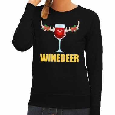 Foute kerstkersttrui winedeer zwart voor dames
