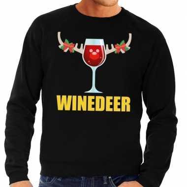 Foute kerstkersttrui winedeer zwart voor heren
