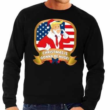 Foute kerstkersttrui zwart christmas is gonne be huge voor heren