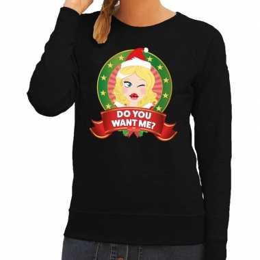Foute kerstkersttrui zwart do you want me voor dames