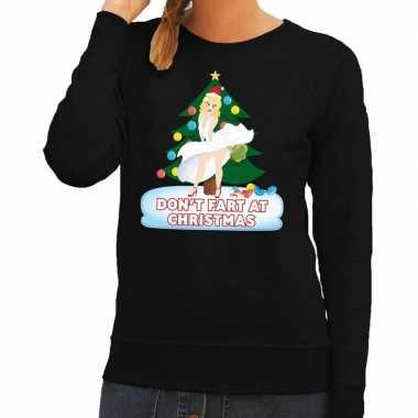 Foute kerstkersttrui zwart dont fart at christmas voor dames