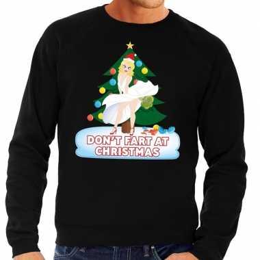 Foute kerstkersttrui zwart dont fart at christmas voor heren