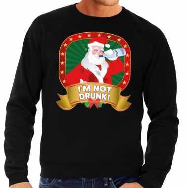 Foute kerstkersttrui zwart im not drunk voor heren