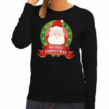 Foute kerstkersttrui zwart kerstman merry christmas voor dames