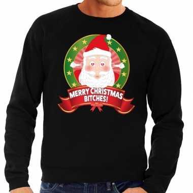 Foute kerstkersttrui zwart merry christmas bitches voor heren