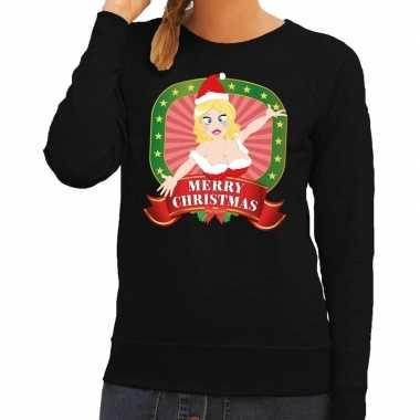 Foute kerstkersttrui zwart merry christmas kerstvrouw voor dames