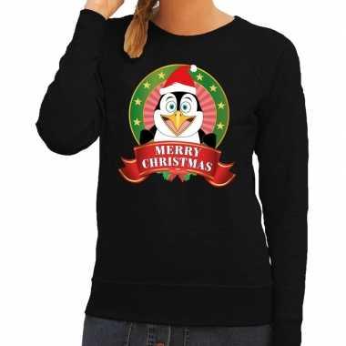 Foute kerstkersttrui zwart merry christmas pinguin voor dames