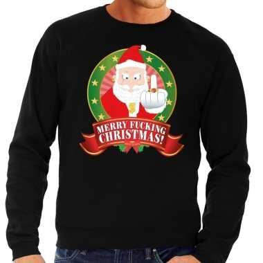Foute kerstkersttrui zwart merry fucking christmas voor heren