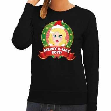 Foute kerstkersttrui zwart merry x mas boys voor dames
