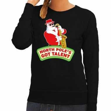 Foute kerstkersttrui zwart north poles got talent voor dames