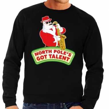 Foute kerstkersttrui zwart north poles got talent voor heren