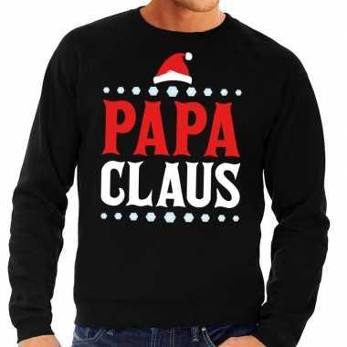 Foute kerstkersttrui zwart papa claus voor heren