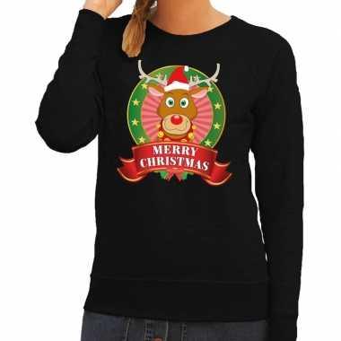 Foute kerstkersttrui zwart rudolph merry christmas voor dames