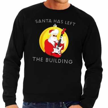 Foute kerstkersttrui zwart santa has left the building voor heren