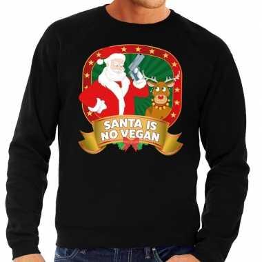 Foute kerstkersttrui zwart santa is no vegan voor heren