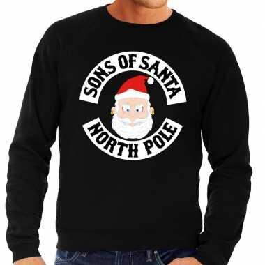 Foute kerstkersttrui zwart sons of santa voor heren