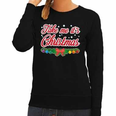 Foute kerstkersttrui zwart take me its christmas voor dames