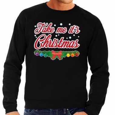 Foute kerstkersttrui zwart take me its christmas voor heren