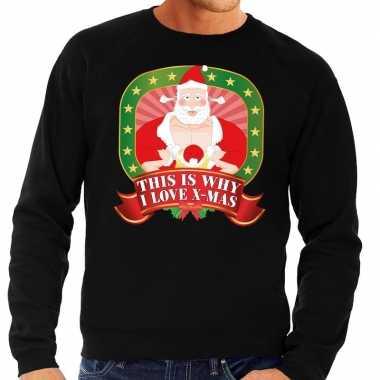 Foute kerstkersttrui zwart this is why i love christmas voor heren
