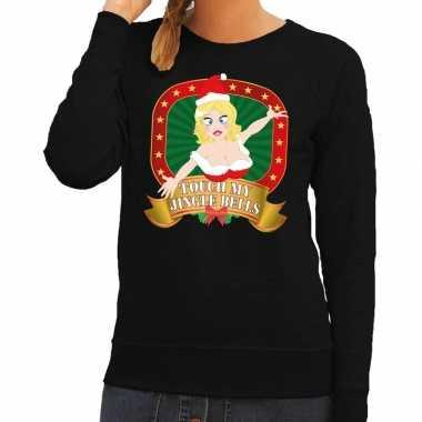 Foute kerstkersttrui zwart touch my jingle bells voor dames