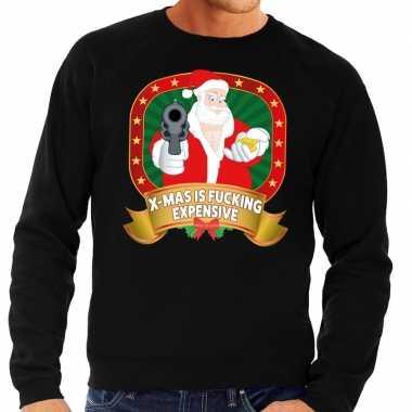 Foute kerstkersttrui zwart x mas is fucking expensive voor heren