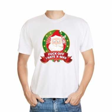 Foute shirt wit fuck off i hate x mas voor mannen