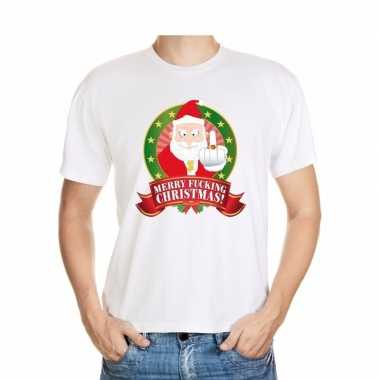 Foute shirt wit merry fucking christmas voor mannen