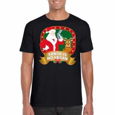 Foute shirt zwart santa is no vegan voor mannen