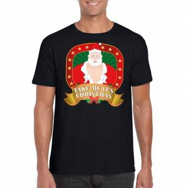 Foute shirt zwart take me its christmas voor mannen