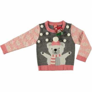Grijze kersttrui ijsbeer voor meisjes maat 128/134