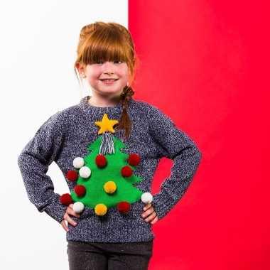 Grijze kinderkersttrui voor kerst met kerstboom