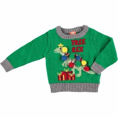 Kerst sweaters met dinosaurus t rex voor baby