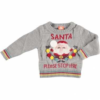 Kerst sweaters met kerstman santa please stop here voor baby