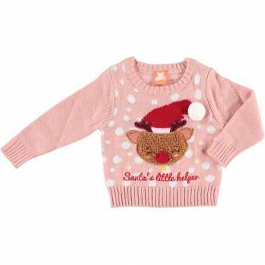 Kerst sweaters met rendier santa little helper voor baby