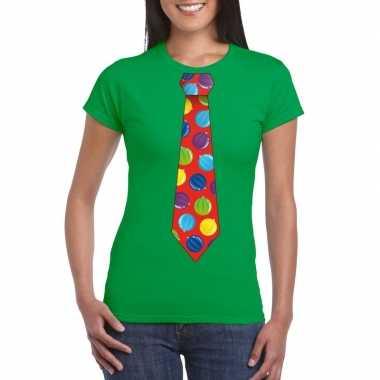 Kerst t shirt stropdas met kerstballen print groen voor dames