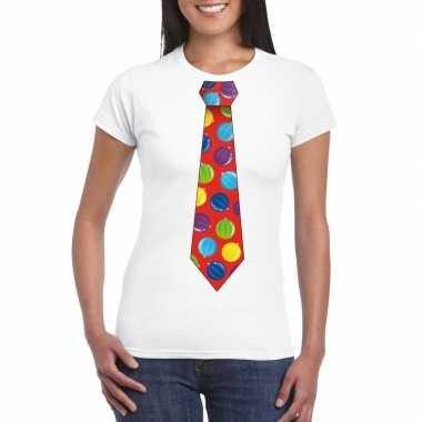 Kerst t shirt stropdas met kerstballen print wit voor dames