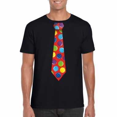 Kerst t shirt stropdas met kerstballen print zwart voor heren